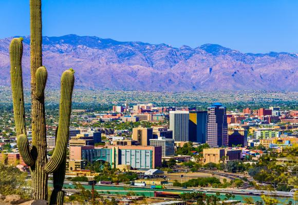 Photo of Tuscon, a small city in a desert with cacti in the foreground.